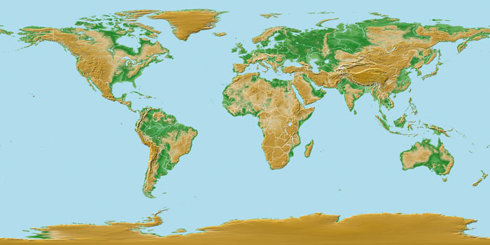 relief map of the world