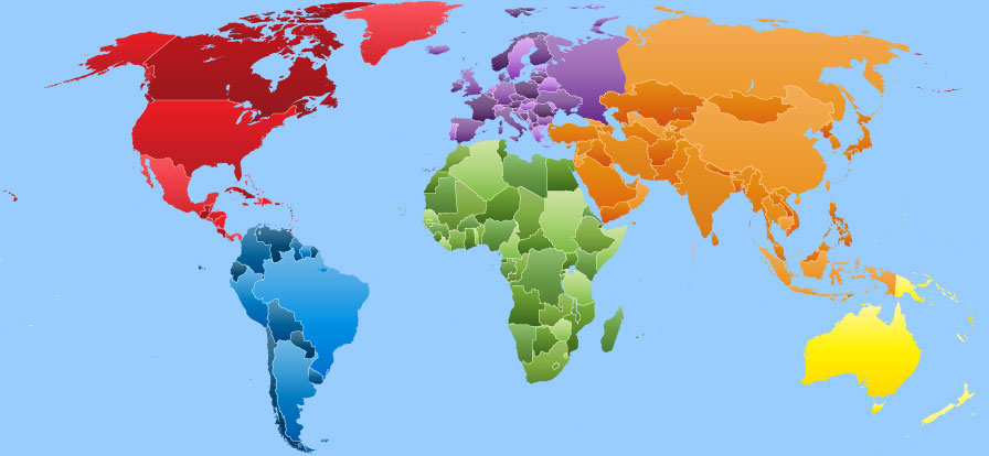 About us political map of the world with color coded continents